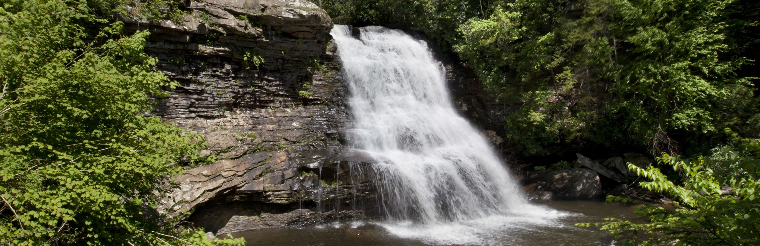 Swallow Falls State Park, Garrett County, encompasses the Youghiogheny River and is home of Muddy Creek Falls. This spectacular waterfall is 53 feet high and it is the highest in Maryland.